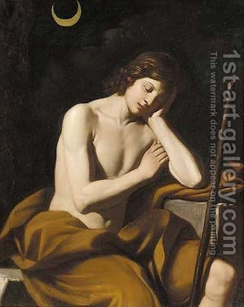 Saint John the Baptist 2 by (after) Giovanni Francesco Guercino (BARBIERI) - Reproduction Oil Painting