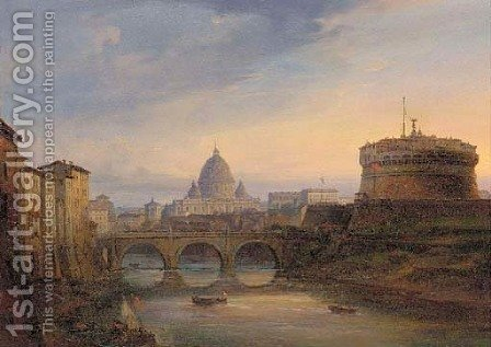 St. Peter's from the Tiber by (after) Giovanni Grubacs - Reproduction Oil Painting