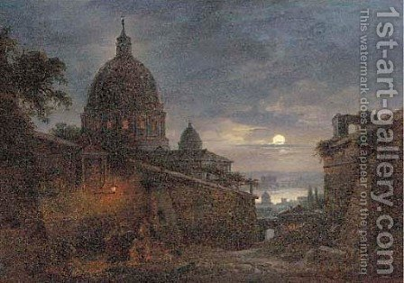 St. Peter's at dusk by (after) Giovanni Grubacs - Reproduction Oil Painting