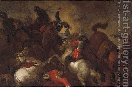 A cavalry skirmish by (after) Giovanni Tuccari - Reproduction Oil Painting