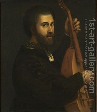Portrait Of A Gentleman, Half-Length, Playing A Lira Di Braccio by (after) Giulio Campi - Reproduction Oil Painting