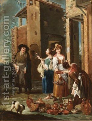 A Street Scene With Women Selling Pots And Flowers by (after) Giuseppe Maria Crespi - Reproduction Oil Painting