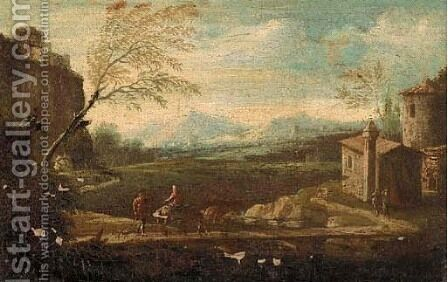 A landscape with travellers on a riverside path, a castle beyond by (after) Giuseppe Zais - Reproduction Oil Painting