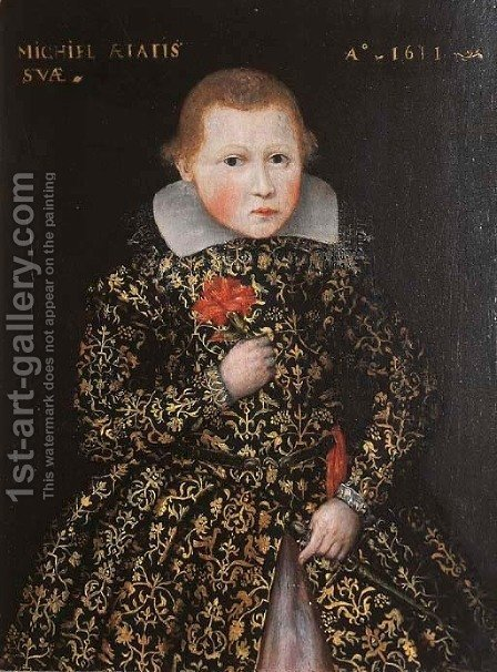 Portrait of a boy, in an embroidered dress coat, holding a carnation and a dagger by (after) Gortzius Geldorp - Reproduction Oil Painting