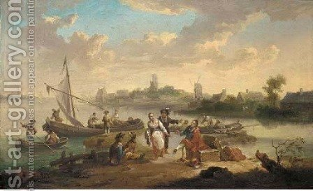 A river landscape with traders and townsfolk by a ferry, a windmill in the distance by (after) Hendrik Van Anthonissen - Reproduction Oil Painting