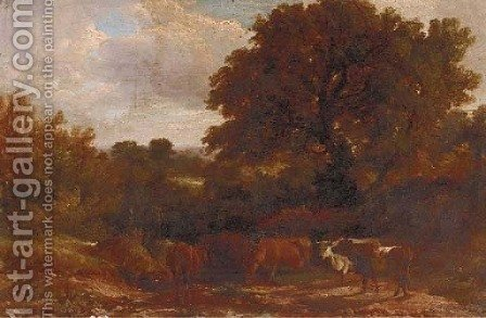 Cattle watering in a wooded landscape 2 by (after) Henry John Boddington - Reproduction Oil Painting