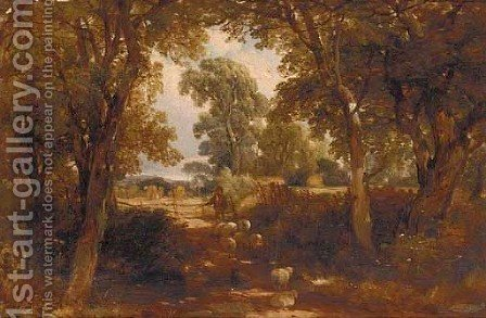 A shepherd with his flock on a sunlit lane by (after) Henry John Boddington - Reproduction Oil Painting