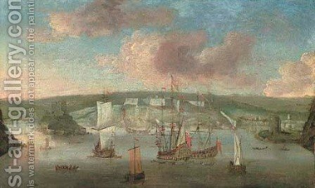 Ships of the fleet off Dover by (after) Isaac Sailmaker - Reproduction Oil Painting