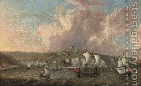 Warships off the Citadel at Plymouth by (after) Isaac Sailmaker - Reproduction Oil Painting