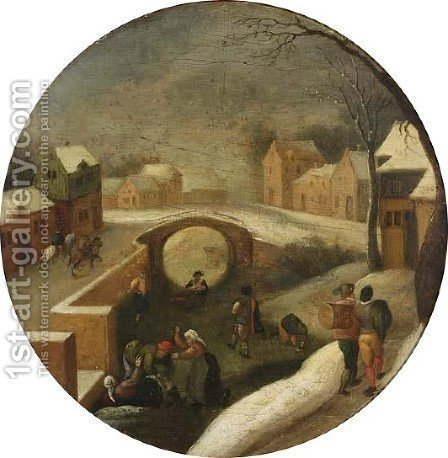 A Winter Scene With Skaters On A Frozen Canal In A Village by (after) Jacob Grimmer - Reproduction Oil Painting