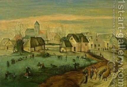Winter A Landscape With Figures Skating On A Frozen Pond, An Ox-Draw by (after) Jacob Grimmer - Reproduction Oil Painting