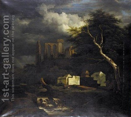 The Jewish Cemetery At Oudekerk On The Amstel by (after) Jacob Van Ruisdael - Reproduction Oil Painting