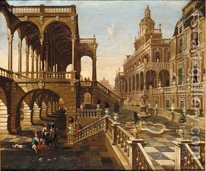 A Palace Capriccio Scene With Elegant Figures by (after) Jacobus Saeys - Reproduction Oil Painting