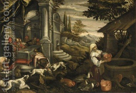 La Parabola Del Ricco Epulone by (after) Jacopo Bassano (Jacopo Da Ponte) - Reproduction Oil Painting