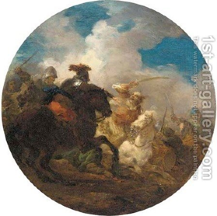 A cavalry engagement between Turks and Christians by (after) Jacques (Le Bourguignon) Courtois - Reproduction Oil Painting