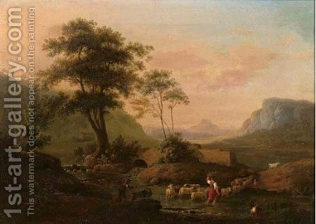 An Italianate river landscape with a shepherdess and her flock at a ford by (after) Jakob Philipp Hackert - Reproduction Oil Painting