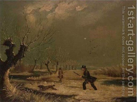 A winter shoot by (after) James Pollard - Reproduction Oil Painting