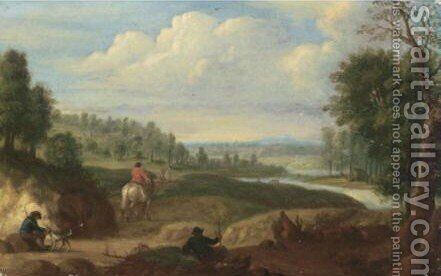 River Landscape With Cavaliers On A Track 2 by (after) Jan Baptist Huysmans - Reproduction Oil Painting