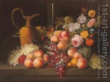 Grapes, peaches and a jug with a vase of flowers to the side, on a stone ledge by (after) Jan Davidsz De Heem - Reproduction Oil Painting