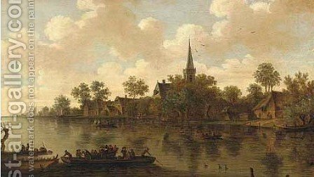 A river landscape with a town, a ferryboat by (after) Jan Van Goyen - Reproduction Oil Painting