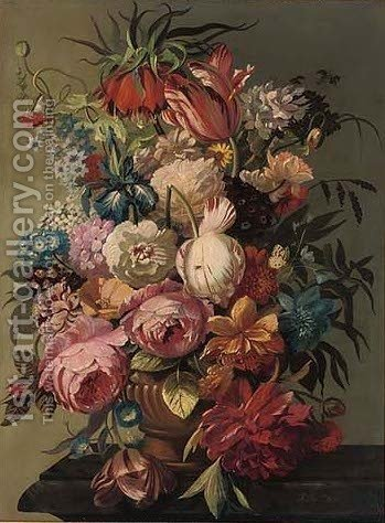 Tulips, polyanthus, irises, poppies, convolvulus and crown imperial, in a vase, on a ledge by (after) Jan Van Ost - Reproduction Oil Painting