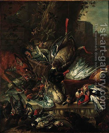 A dead mallard, pigeons, a jay, a kingfisher, a green woodpecker and various songbirds with a fox and a dog in a park, a villa beyond by (after) Jan Weenix - Reproduction Oil Painting