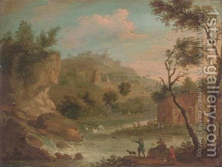 A mountainous river landscape with hunters by a waterfall by (after) Jan-Pieter Van Bredael - Reproduction Oil Painting