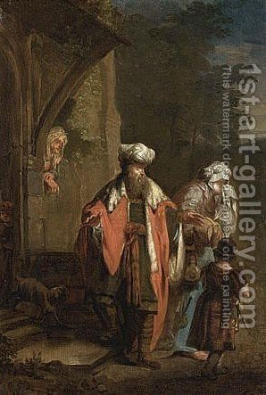 Hagar And Ismael Being Sent Away by (after) Januarius Zick - Reproduction Oil Painting