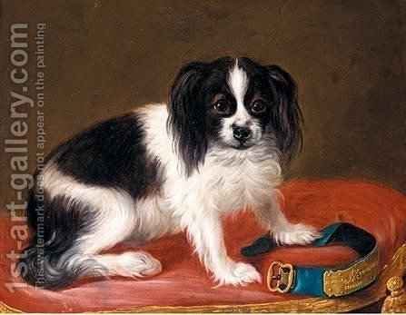 Study Of A Dog Seated On A Red Cushion Together With Its Collar by (after) Jean Ranc - Reproduction Oil Painting