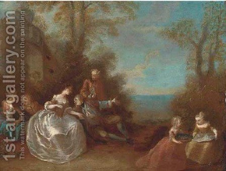 Elegant company cavoorting in a classical landscape by (after) Jean-Baptiste Joseph Pater - Reproduction Oil Painting