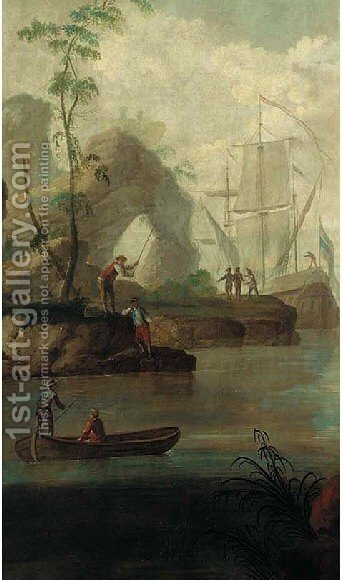 Mediterranaen coastal scene with Europeans 2 by (after) Jean-Baptiste Leprince - Reproduction Oil Painting