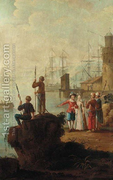 Mediterranaen coastal scene with Turks by (after) Jean-Baptiste Leprince - Reproduction Oil Painting