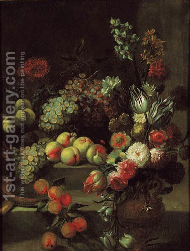 Grapes, peaches and nectarines with tulips by (after) Jean-Baptiste Monnoyer - Reproduction Oil Painting