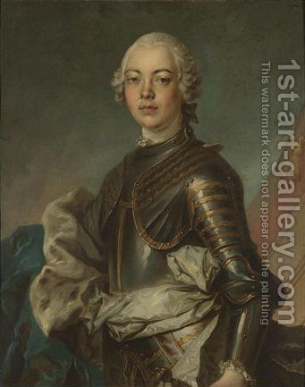 Portrait Of A Gentleman, Half Length, Wearing Armour With A Blue Ermine-Lined Cloak by (after) Jean-Baptiste Nattier - Reproduction Oil Painting