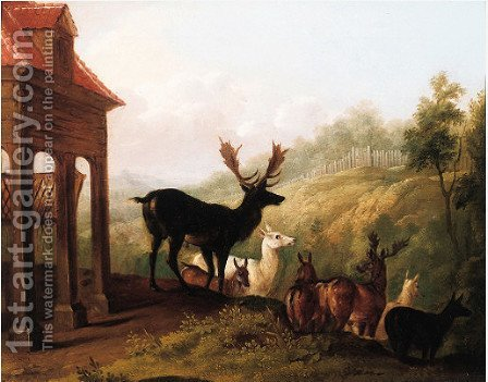 Reindeer in landscapes by (after) Jean-Baptiste Oudry - Reproduction Oil Painting