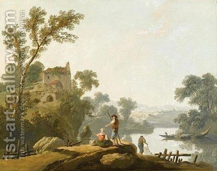 A River Landscape With Fishermen, A Ruin On A Hill Beyond by (after) Jean-Baptiste Pillement - Reproduction Oil Painting