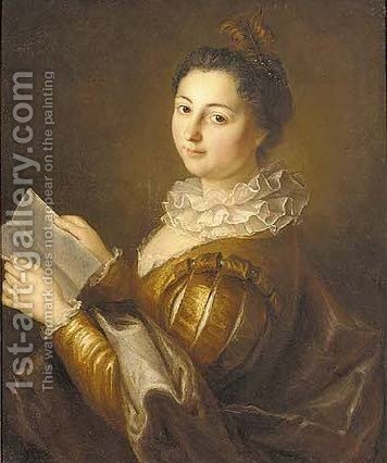 Portrait of a lady, half-length, in a golden dress with slashed sleeves and a white ruff, holding a letter by (after) Jean-Baptiste Santerre - Reproduction Oil Painting