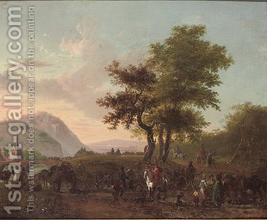 Cavalry officers conversing with peasants on a track, an army crossing a bridge beyond by (after) Jean-Louis Demarne - Reproduction Oil Painting