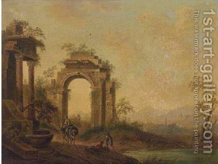 An Italianate landscape with figures by a fountain near a ruined Roman archway by (after) Johann Christian Brand - Reproduction Oil Painting