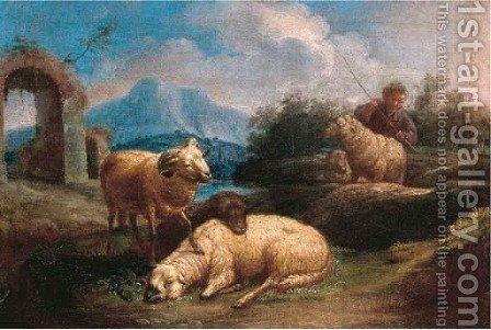 A shepherd with his sheep in an Italianate landscape by (after) Johann Heinrich Roos - Reproduction Oil Painting