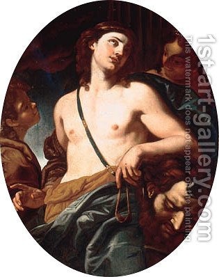 David with the head of Goliath by (after) Johann Karl Loth - Reproduction Oil Painting