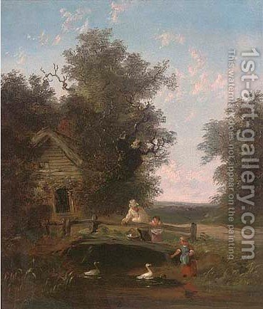 Feeding the ducks by (after) John Anthony Puller - Reproduction Oil Painting