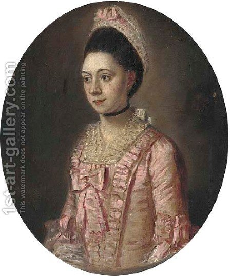 Portrait of a lady, small half-length, in a pink dress by (after) John Downman - Reproduction Oil Painting