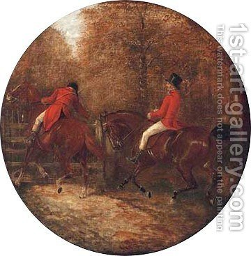 Huntsmen opening a gate by (after) John Frederick Jnr Herring - Reproduction Oil Painting