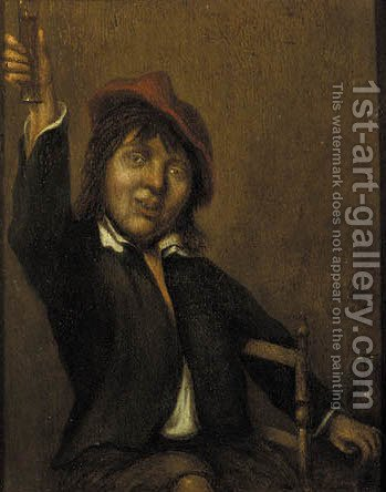 A boor holding up a glass of wine by (after) Joos Van Craesbeeck - Reproduction Oil Painting