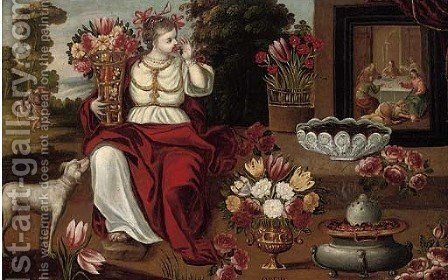 An allegory of the sense of Smell by (after) Juan De Arellano - Reproduction Oil Painting