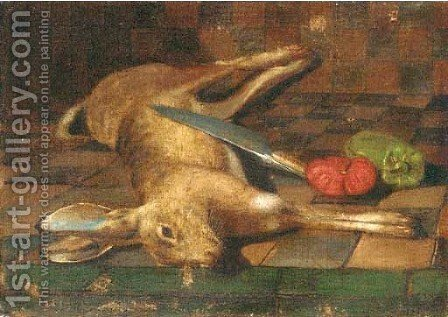 A dead hare with a knife, tomato and a green pepper on a tiled by (after) Juan Van Der Hamen - Reproduction Oil Painting