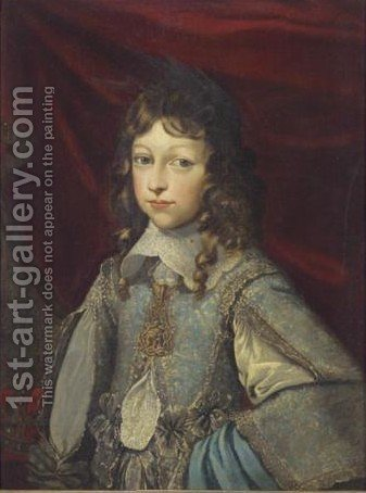 Portrait Of A Young Nobleman, Half Length, Wearing A Richly Embroidered Tunic And The Ordine Supremo Dela Ss. Annunziata Of Savoy by (after) Justus Sustermans - Reproduction Oil Painting