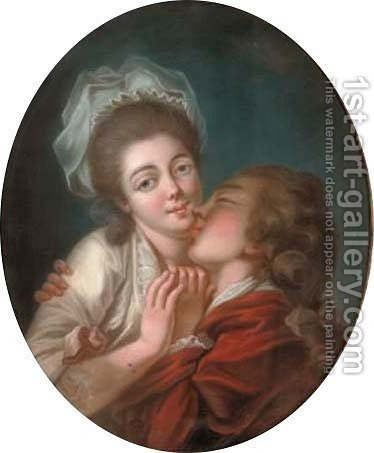 A stolen kiss by (after) Louis Leopold Boilly - Reproduction Oil Painting