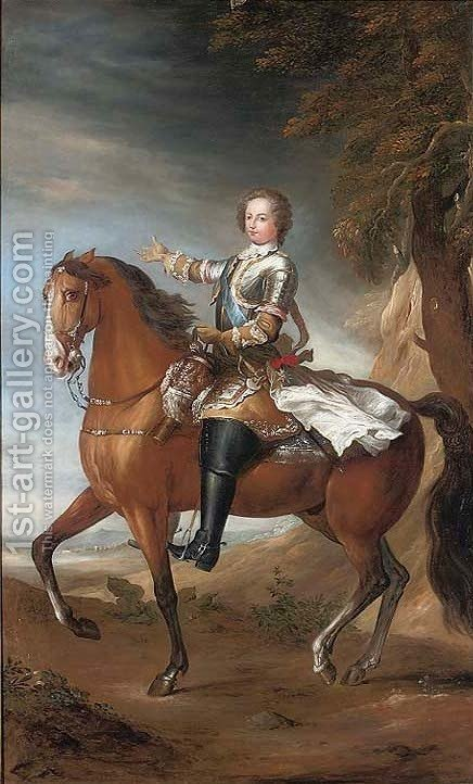Portrait of a gentleman on horseback by (after) Louis Michel Van Loo - Reproduction Oil Painting